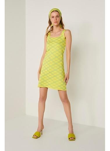 Join Us Neon Askılı Triko Elbise Sarı